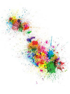 Malta Map Paint Splashes Poster by Michael Tompsett