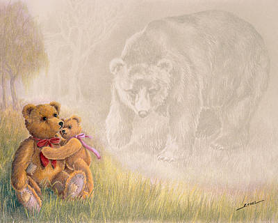 Poster featuring the drawing Mama I Saw A Big Bear by Ethel Quelland