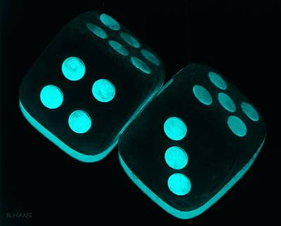 Mama's Fuzzy Dice In Turquois Poster by Rob Hans