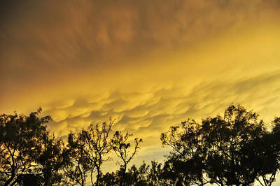Poster featuring the photograph Mammatus Clouds At Sunset by Karen Slagle