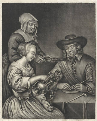 Man And A Woman At The Table, Anonymous, Jan Van Somer Poster by Anonymous And Jan Van Somer