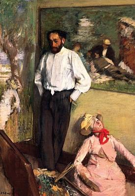 Man And Puppet Poster by Edgar Degas