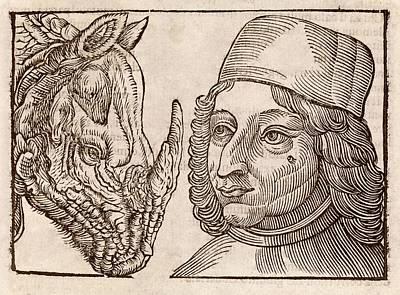 Man And Rhino's Head Poster