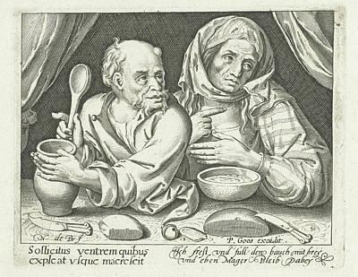 Man And Woman Eating Porridge, Nicolaes De Bruyn Poster