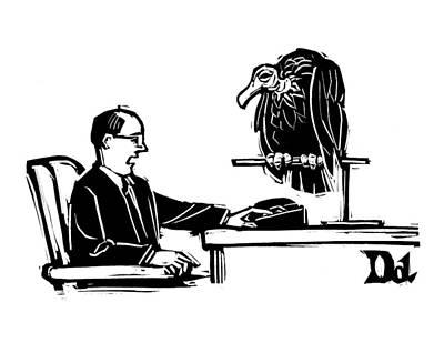 Man At Desk Speaks Into Intercom.  A Vulture Sits Poster