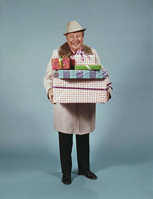 Man Carrying Gifts Hat Party 1970s Poster
