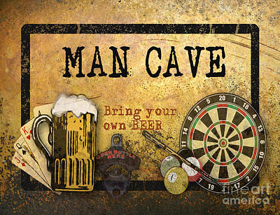 Man Cave-bring Your Own Beer Poster by Jean Plout