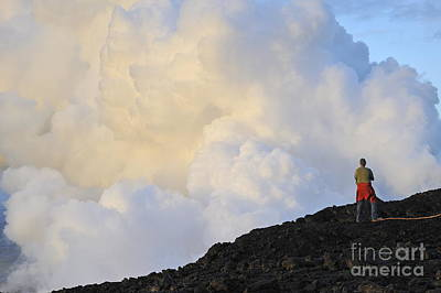 Man Contemplating Clouds Of Steam On Volcano Poster by Sami Sarkis