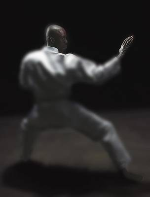 Man Doing Martial Arts Poster by Darren Greenwood