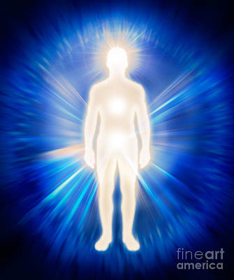 Man Ethereal Body Energy Emanations Concept Poster