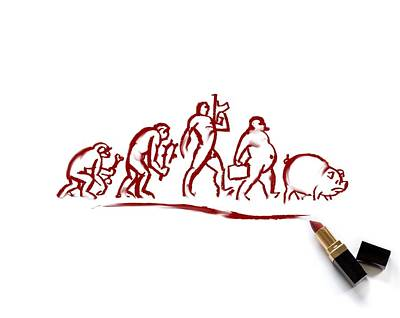 Man Evolving Into A Pig, Conceptual Poster by Science Photo Library