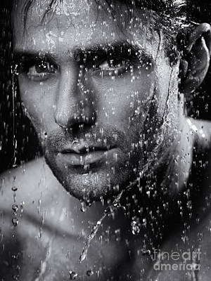 Man Face Wet From Water Running Down It Black And White Poster