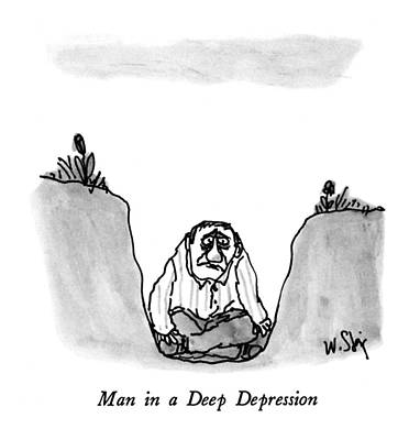 Man In A Deep Depression Poster by William Steig