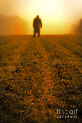 Man In Field At Sunset Poster by Edward Fielding