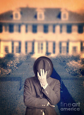Man In Front Of Mansion  Poster