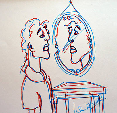 Man In The Mirror Poster by Linda Gail