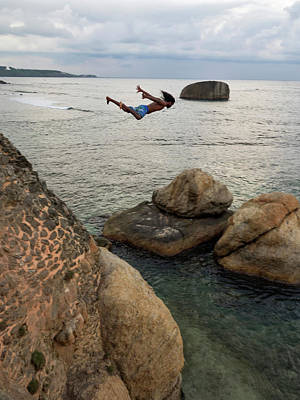 Man Jumping Off Flag Rock Bastion Poster by Panoramic Images