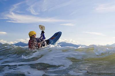 Man Kayak Surfing Waves On Katchemak Poster by Scott Dickerson