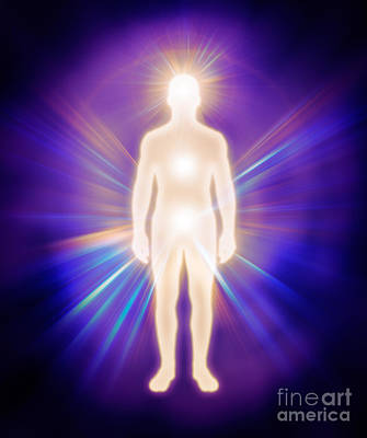 Man Luminous Ethereal Body Energy Emanations Concept Poster
