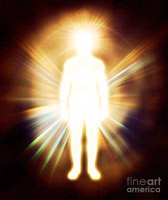 Man Luminous Ethereal Body Qi Energy Poster