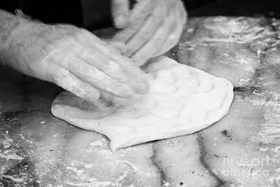 Man Making Pizza Kneeding Base Dough Deliberate Motion Blur Poster by Joe Fox
