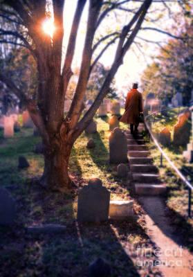 Man On Cemetery Steps Poster by Jill Battaglia