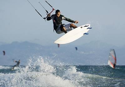 Man Parasurfing On Ocean Poster by Ben Welsh