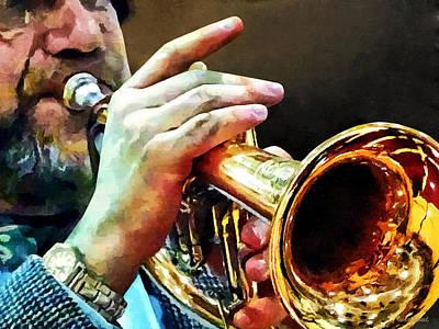 Man Playing Trumpet Poster by Susan Savad