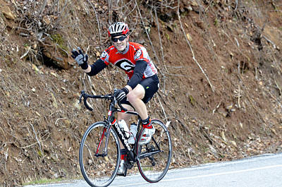 Man Riding Bike In A Race Poster by Susan Leggett