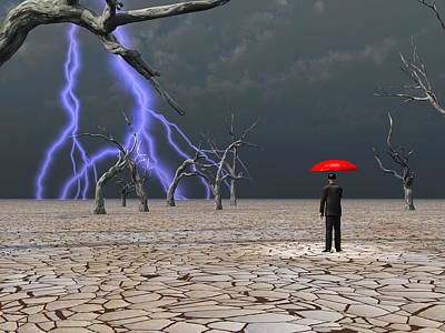 Poster featuring the digital art Man Takes In Storm Under Umbrella by Bruce Rolff