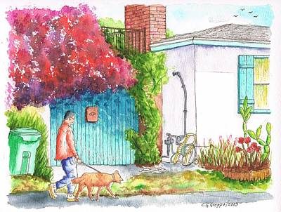 Man Walking A Dog In West Hollywood - California Poster by Carlos G Groppa