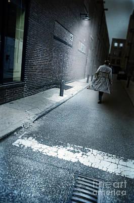 Man Walking Down A Dark Alley Poster