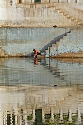 Man Washing Himself / Udaipur, India Poster by Adam Jones