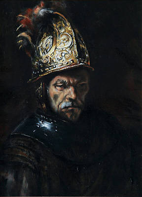 Man With A Golden Helmet After Rembrandt Poster by Massimo Tizzano