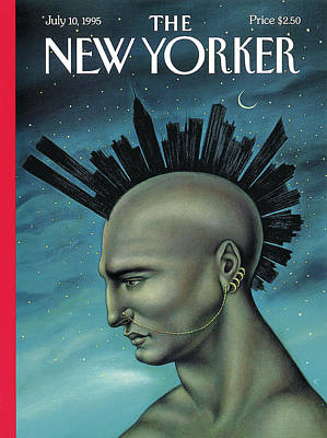 Man With A Mohawk That Resembles The Nyc Skyline Poster by Anita Kunz