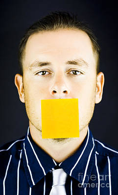 Man With Blank Paper Note Over His Mouth Poster