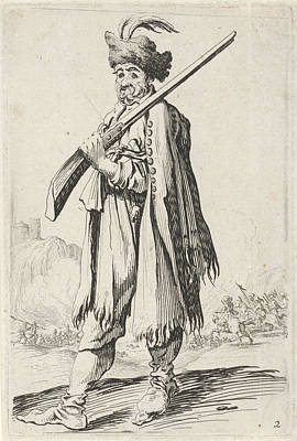 Man With Gun And Feathered Hat, Gillis Van Scheyndel Poster