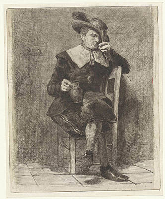 Man With Jug And Glass On A Chair Poster by Litz Collection