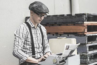 Man Writing On Old Typewriter Poster