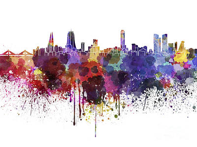 Manama Skyline In Watercolor On White Background Poster by Pablo Romero