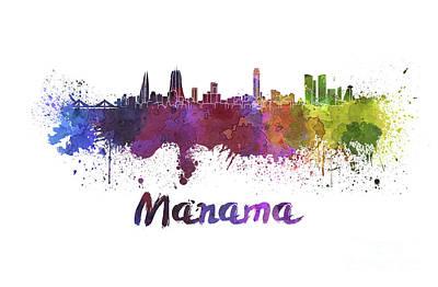Manama Skyline In Watercolor Poster by Pablo Romero