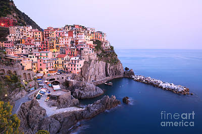 Manarola At Dusk In The Cinque Terre Italy Poster by Matteo Colombo
