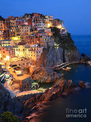 Manarola At Night In The Cinque Terre Italy Poster by Matteo Colombo