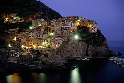 Manarola At Twilight Poster by Andrew Soundarajan