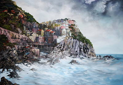 Poster featuring the painting Manarola Italy by Jean Walker