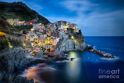 Manarola Night Poster by George Oze