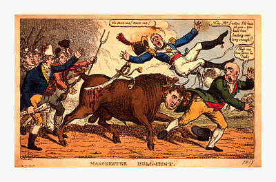 Manchester Bull-hunt Poster by English School