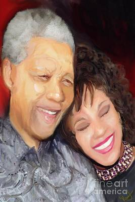 Poster featuring the painting Mandela And Whitney by Vannetta Ferguson
