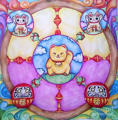 Maneki Neko And Daruma  Poster by Elena Tronina