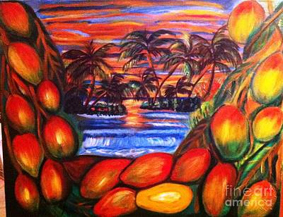 Mango By Sunset Poster by Janet Lilethia  Harvey